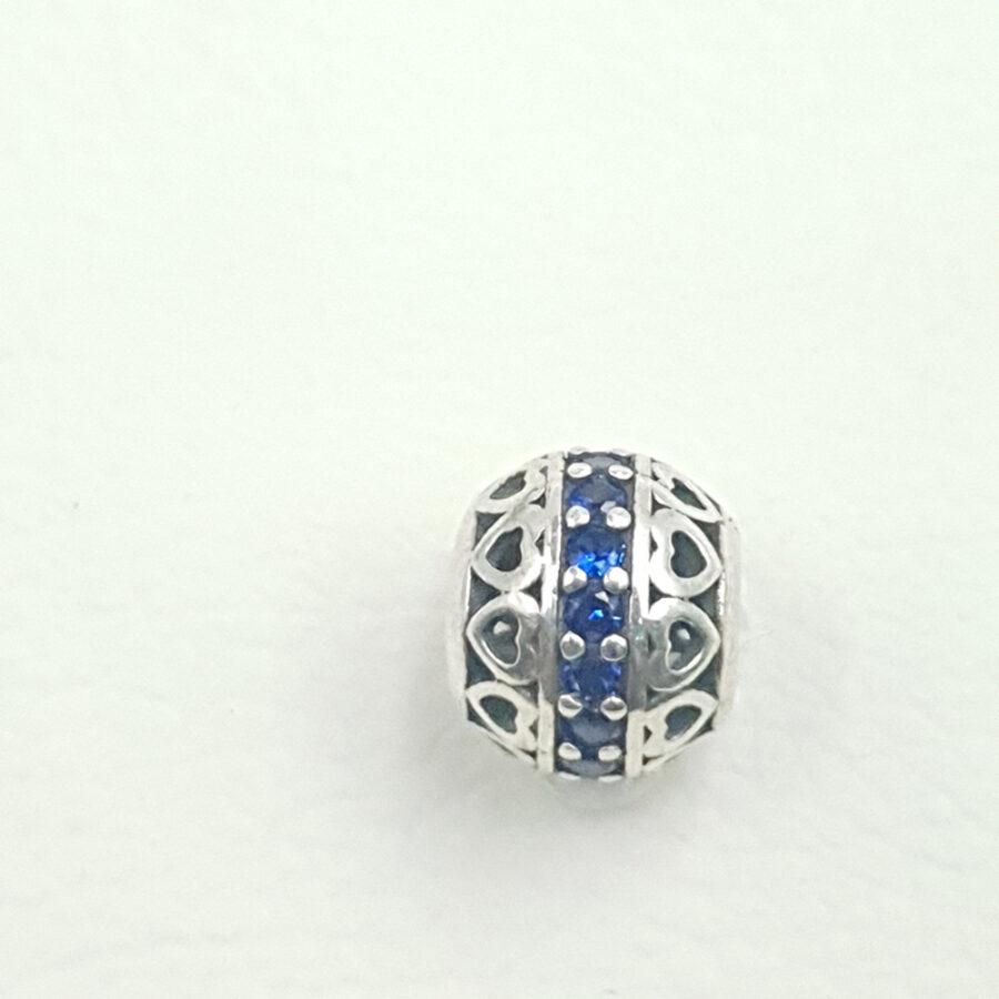 Στοιχείο τύπου PANDORA με μπλε πέτρα και καρδιές