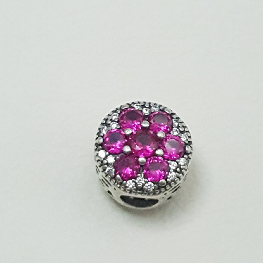 Στοιχείο τύπου PANDORA ροζ πέτρες σε σήμα λουλούδι